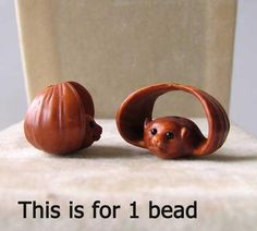 Carved /& Signed Boxwood Lizard Bead 4128DT
