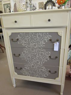 Chalk Paint(TM) in cream and coco.only at Winsome Annie Sloan Painted Furniture, Chalk Paint Furniture, Furniture Projects, Furniture Making, Furniture Makeover, Painted Dressers, Dresser Makeovers, Dresser As Nightstand, Tall Dresser