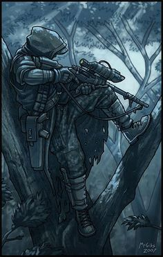 sniper anime photo: Sniper Tacterrian_Sniper_by_McGibs. Anime Military, Military Art, Le Sniper, Ghost Soldiers, Post Apocalyptic Art, Military Drawings, Future Soldier, Fantasy Characters, Fictional Characters