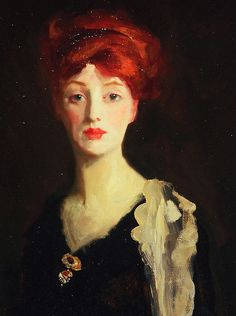 Robert Henri. Detail from Lady in Black with Spanish Scarf, 1910.