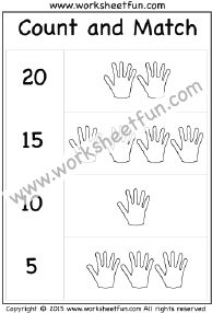Count and Match – Numbers 1-20 – One Worksheet