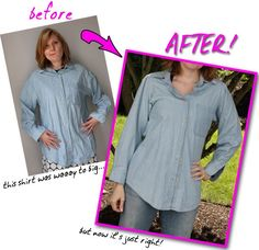 How to re-fit a button up shirt to fit your size (men's shirt to woman's shirt!)