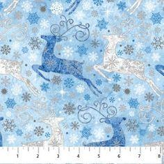 Reindeer Prance Deers in ice blue