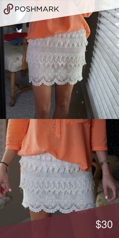White skirt Crochet white layered skirt. I love this skirt because it is so versatile! Wear it with sandals OR with boots and a sweater for a cute transitional piece! Skirts