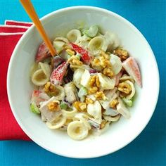 Modern Waldorf Salad Recipe -A Waldorf salad inspired my pasta dish. I use smoked turkey, apples, strawberries and orecchiette. Rotisserie chicken and other fruits would also taste great. —Sonya Labbe, West Hollywood, California
