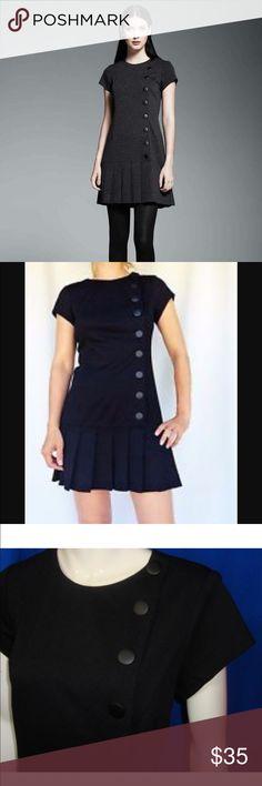 Catherine Malandrino Pleated Drop Waist Dress Vintage inspired black drop waisted pleated hem dress by Catherine Malandrino. Side snaps. Very flattering. Classic Chić. Namaste Catherine Malandrino Dresses