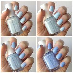 Essie Pale Blue Comparison : Find Me An Oasis, Borrowed & Blue, Salt Water Happy & Bikini So Teeny | Essie Envy