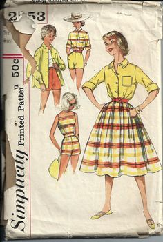 1950's Rockabilly Teen Age Top, Shorts and Skirt Pattern, Simplicity 2553, Size 12 on Etsy, $15.73 AUD