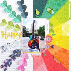 """This rainbow layout and giant colorful guitar is the perfect way to scrapbook this rock star in the making! Add some fun and fresh color to your layouts with the wonderful """"Horizon"""" collection from Pink Paislee. Scrapbook Sketches, Scrapbook Page Layouts, Scrapbook Cards, Scrapbooking Ideas, Scrapbook Templates, Scrapbook Designs, Bridal Shower Scrapbook, Picture Layouts, Vacation Scrapbook"""