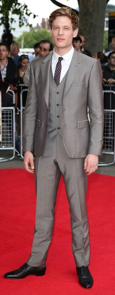 British actor James Norton wearing a three piece Burberry suit in birch grey at the London premiere of Belle last night