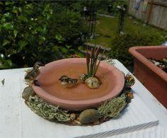 Little pond with handsculpted bowl & goslings. By Nina's Mini Creations Fairy Garden Houses, Gnome Garden, Garden Art, Bird Fountain, Mini Plants, Garden Items, Fairy Doors, Fairy Garden Accessories, Mini Things