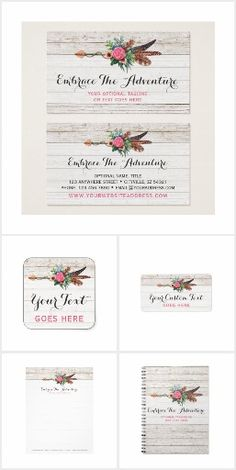 Embrace The Adventure: Shabby rustic wood meets free spirited bohemian vibes! This design suite features fancy feminine feathers and arrow in elegant watercolor styling, paired with weathered wooden background. Created for the boho chic at heart! CyanSkyDesign on Zazzle.