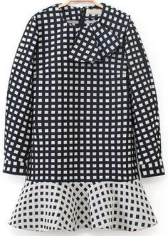 black and white ruffle collar check dress $34