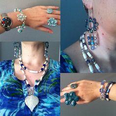 blue floral top from Miller, Jewel Divas earrings, necklace and bracelet stack