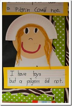 After completing our Venn diagram, the kids had a choice between two different writing prompts,  I can__________, but a pilgrim could not.  OR  Ihave ___________, but a pilgrim did not.  Then they got to make their own little pilgrim boys and girls to go with their writing.