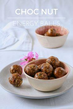 Choc nut energy balls - free from refined sugar, gluten, dairy and vegan!