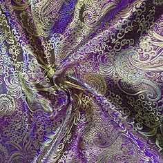 Metallic Paisley Brocade Fabric By Yard in Red Yellow White Purple Blue (Purple / Gold) Fabric Wholesale Direct Lila Gold, Purple Gold, Gold Aesthetic, Aesthetic Images, Rapunzel, Brocade Fabric, Gold Fabric, Character Aesthetic, Paisley Design