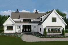 This farmhouse design floor plan is 2528 sq ft and has 4 bedrooms and has bathrooms. Farmhouse Floor Plans, Modern Farmhouse Exterior, Modern Farmhouse Style, Farmhouse Design, Farmhouse Ideas, Farmhouse Decor, Farmhouse Bedrooms, French Farmhouse, Craftsman Style House Plans