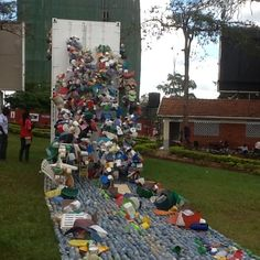 Quite cool. A river of plastic - raising awareness of plastic being dumped #Kampala #art #Uganda