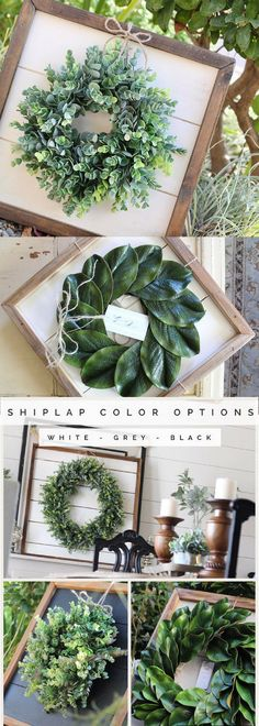 Shiplap Art & Mini Eucalyptus OR Magnolia Wreath - Small 15x15 - Reclaimed Wood - Handmade - Farmhouse - Home Decor - Custom Pieces - Spring - Living Room - Style - Kitchen - Modern - Joanna Gaines - Rustic - Country - Vintage - Ideas #ad