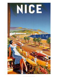 Vintage Travel Poster :: Nice, France