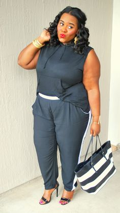 Musings of a Curvy Lady: Sporty Chic @debshops #junxtaposition #ootd #blackandwhite #stripes #womensfashion #plussizefashion #plussize #style #wiw #blackoutfits #MusingsofaCurvyLady