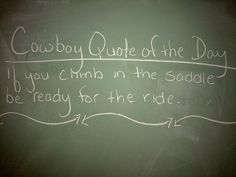 If you climb into the saddle . . .