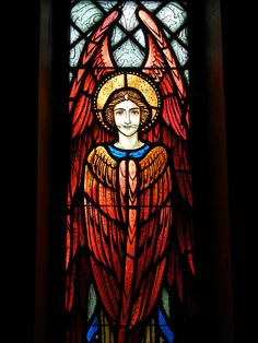"""A series of stained glass windows in the curved outer wall of the sanctuary depict each of the nine orders of angels. The windows are original to the church at the Monastery Immaculate Conception, (Ferdinand, Indiana), completed in Stained Glass Church, Stained Glass Angel, Stained Glass Windows, Order Of Angels, Angels Among Us, Seraph Angel, Foto Gif, Church Windows, Angel Art"