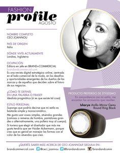 #FashionProfile de Agosto 2013: Conocé más sobre Ceci Joannou, editora en jefe en BRAND+COMMERCIAL.