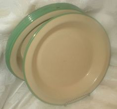 Cream and Green Vintage Enamelware Plates
