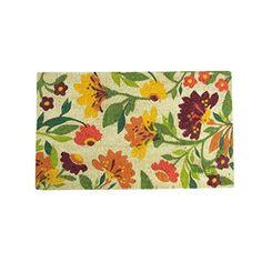 Felices Pascuas Collection Decorative Multi-Color Spring Floral Coir Outdoor Rectangular Door Mat 29.75 inch x 17.75 inch