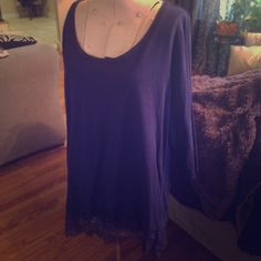 Lane Bryant purple 3/4 sleeve Tee size 14/16 Lane Bryant purple 3/4 sleeve Tee size 14/16, Cotton, soft and comfy, pretty lace all along the bottom, EUC Lane Bryant Tops Tees - Long Sleeve