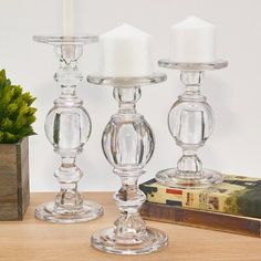 Baluster Glass Candlestick Pillar Taper Candle Holder Set of 3 Taper Candle Holders, Glass Candle Holders, Candle Stand, Diy Candles, Pillar Candles, Candels, Soy Candle Making, Candle Maker, Glass Candlesticks