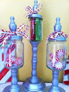 Hmm the jars look like upcycled Mason jars etc. Easy peasy.