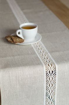 Natural linen runner with white lace Rustic table centepiece runner Tan baby shower runner Wedding dinner table decor Coffee table cloth Runner Natural Table Runner Hochzeitsläufer von LinenLifeIdeas Coffee Table Cloth, Coffee Table Runner, Table Runner Pattern, Crochet Decoration, Rustic Table, Elegant Table, Easter Table, Deco Table, Dinner Table