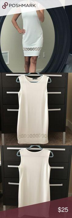 NWOT Boohoo Lace Up Sleeveless Woven Shift Dress Never worn. Sleeveless white dress. Boohoo Dresses Mini