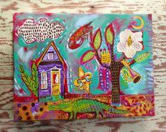 Your place to buy and sell all things handmade Kitchen Art, Kitchen Decor, Louisiana Art, La Art, Mexican Art, Whimsical Art, Magazine Art, Flower Art, Art For Kids