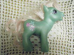 Vintage My Little Pony MINTY SALUER à la retraite. Cheveux G3Tinsel rose
