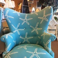reupholstered chair coastal beachy - Google Search