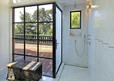 Top 70 Best Shower Window Ideas - Bathroom Natural Light Framed Shower Door, Window In Shower, Shower Doors, Window Wall, Walk In Shower, Marble Showers, Marble Bath, Bathroom Windows, Bathroom Doors