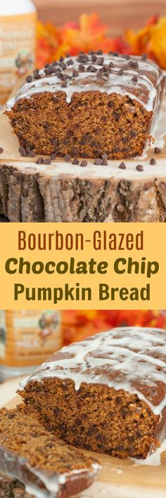 Bourban-Glazed Chocolate Chip Pumpkin Bread recipe where cinnamon and fall spices blend with chocolate chips and pumpkin flavors to make the most tender, moist dessert bread! #ad #FarFromOrdinaryMilk #pumpkin #recipe #chocolate