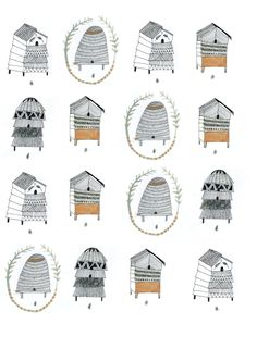 beehive patterns, Katt Frank, illustration, poster, design, drawing, pencil, nature, english, bee
