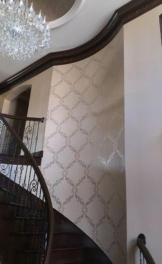 A fantastic project by Heidi Fox using Champagne from our Metallic Paint Collection to stencil a pattern from Royal Design Studio Stencils onto a staircase wall.