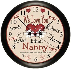 Personalized Grandparent Hearts And Names Keepsake Wall Clock. Exclusive Gift Idea By Simply Southern Gift.