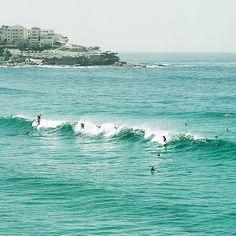 Bondi Beach, Sydney, Australia -- surfers catching a wave