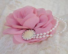 Mauve Rose Headband Flower Girl Headband by KennaBridalMaternity