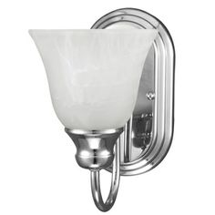 Sea Gull Lighting Windgate 1-light Wall/ Bath Chrome Sconce with White Alabaster Glass