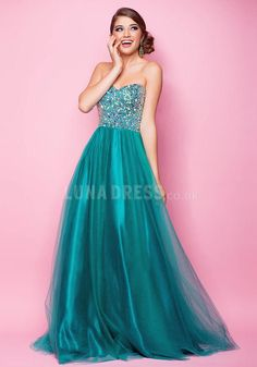 Tulle A line Sweetheart Natural Waist Floor Length Dress For Prom
