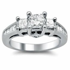 1.10ct 3 Stone Princess Cut Diamond Engagement Ring in 14k White Gold Front Jewelers. $1350.00