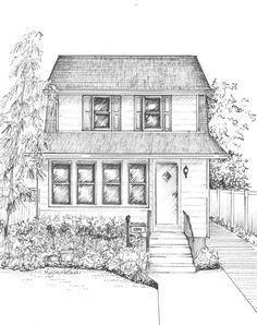 Croquis de maison personnalisé  portrait par maryfrancessmith